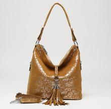 Arliwwi Genuine Suede Cow Leather Shiny Color Lady Tote Shoulder Handbags 2019 New Flower Image Women Tassel Leather Bag