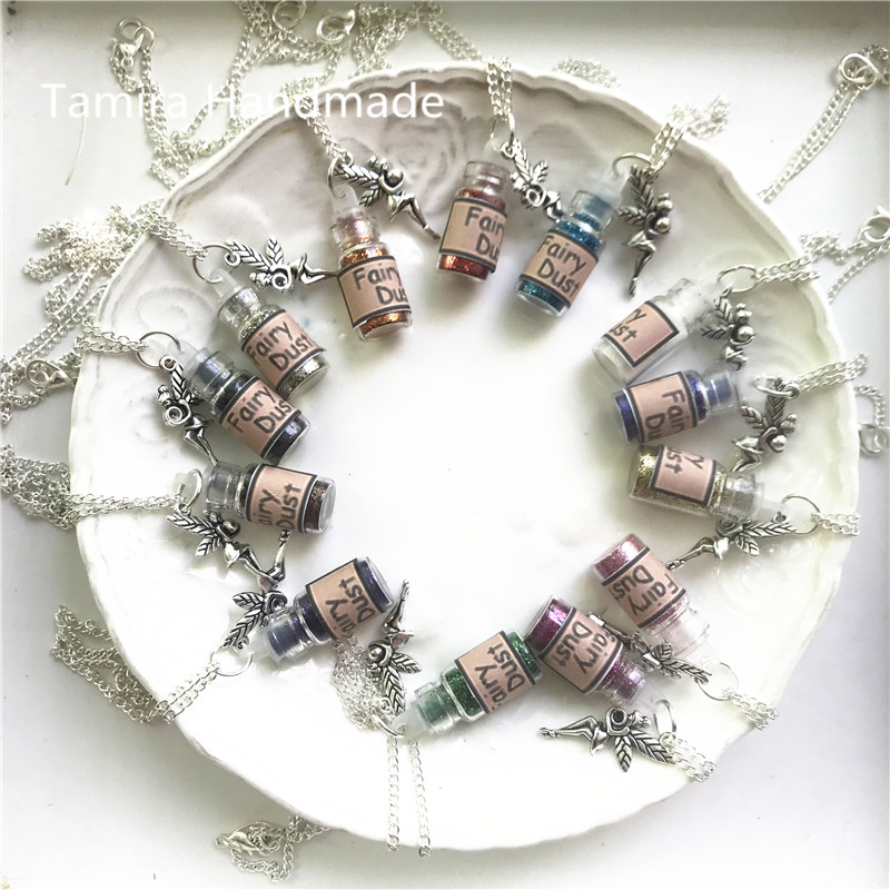 13 Colors Hand Made Glittery Powder Great Gift For Kid Sliver Colour Pretended Play Magic Tooth Fairy Dust Foot Printer Necklace