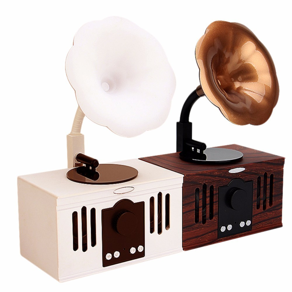 Retro Phonograph Shape Wireless Bluetooth Speaker for MP3 Music Player Support FM Radio TF Card USB Disk Hands-free Call Speaker