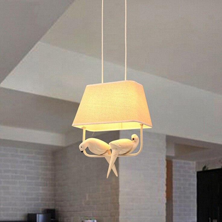 Moderni kreativni Cloth art ptica LED luster restoran, den ukras, - Unutarnja rasvjeta - Foto 4