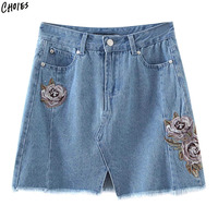 Blue Floral Embroidery Mini Denim Skirt 2017 Women High Waist Slit Button Zipper Pockets Front Fashion