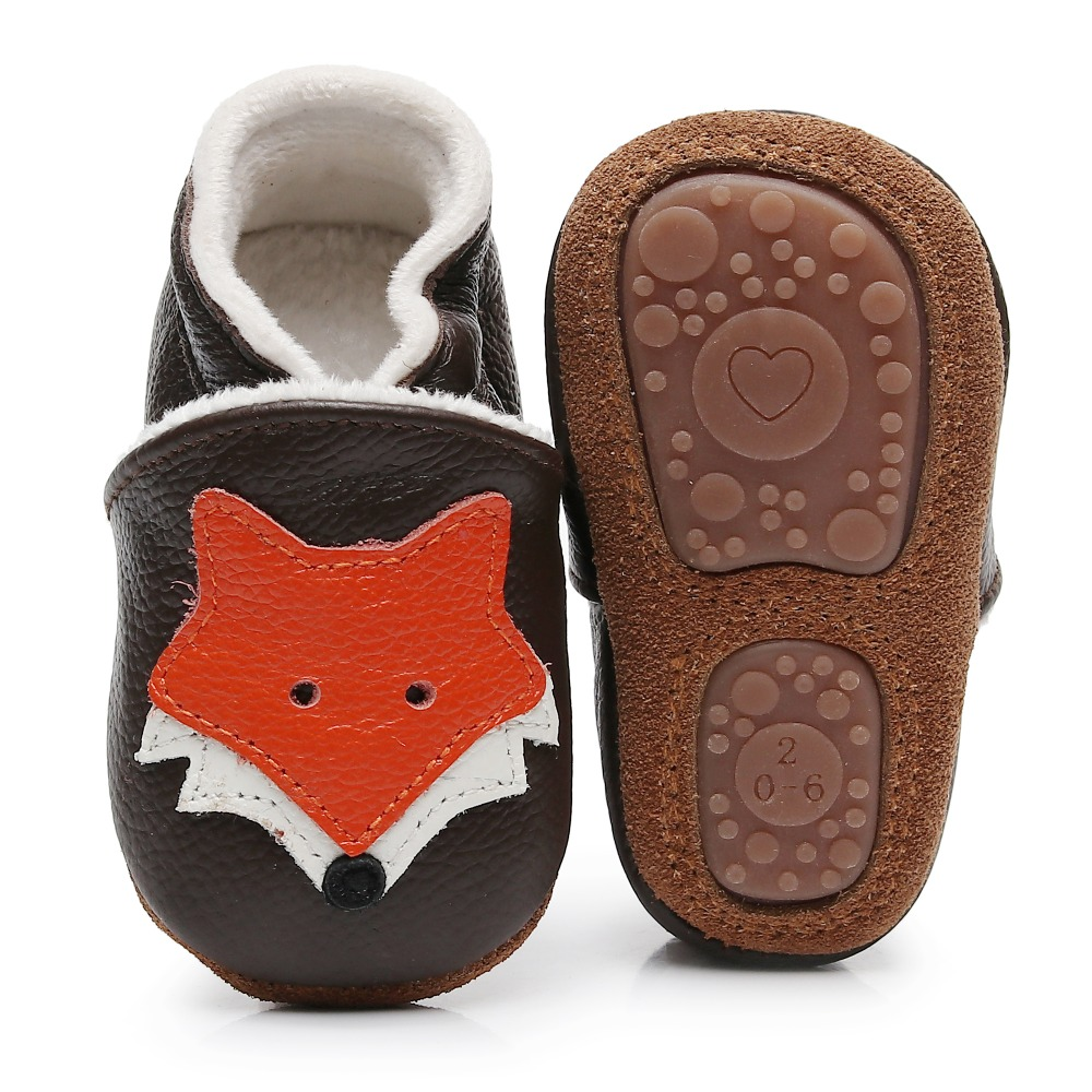 Cartoon Fox Baby Shoes 2019 Newborn Winter Plush Lining Genuine Leather Baby Moccasins Slip On Hard Sole Infant First Walkers