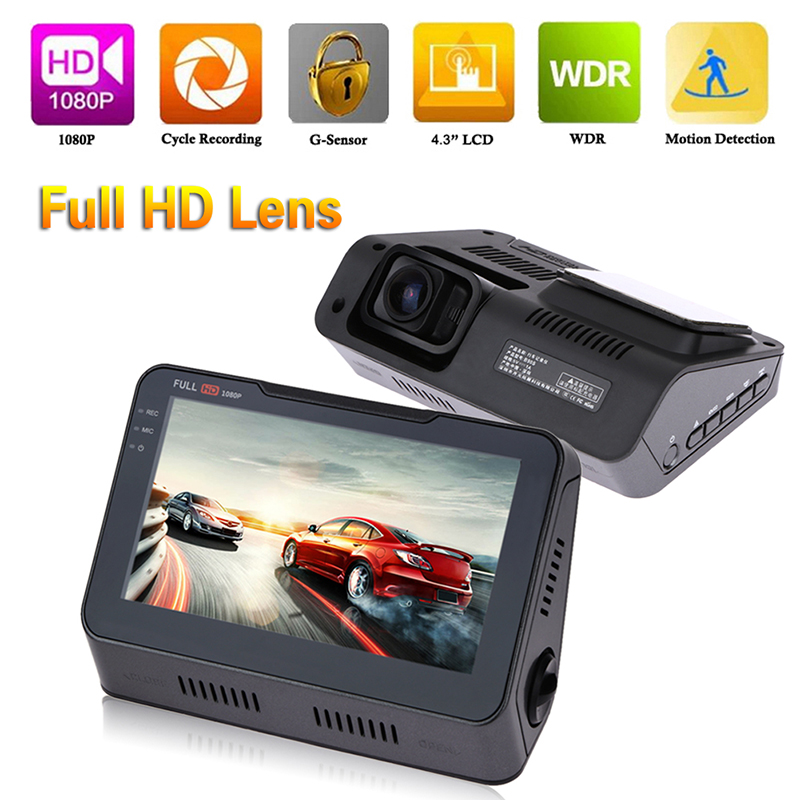 4.3 Inch Full HD 1080P 12.0MP Car DVR 170 Degree Wide Angle Dash Camera Cam Auto Car Video Recorder G-Sensor Night Vision best promotion 2 5 inch full hd 720p car dvr camera dash cam auto video recorder 100 degree g sensor night vision