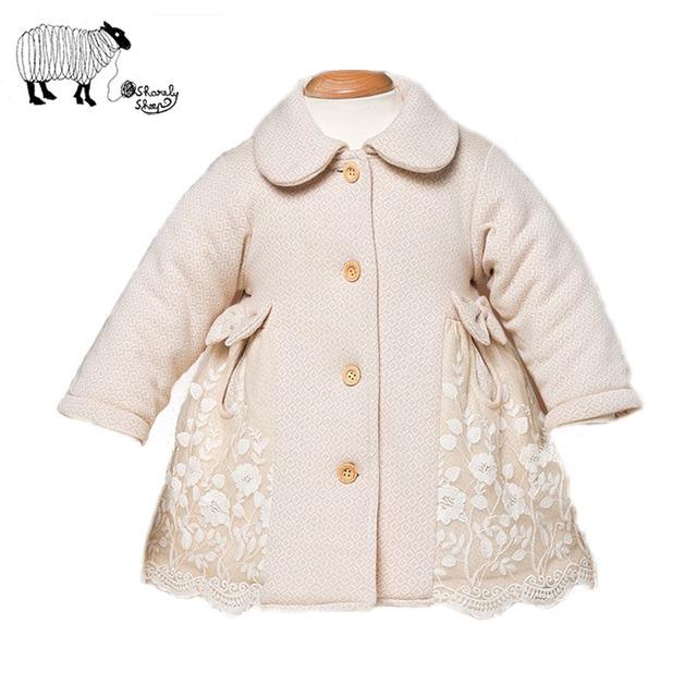 Bebé recién nacido Otoño Invierno Cordón de Algodón de manga Completa Abrigos de Vestir Exteriores 2016 Nueva Chica de Moda de Un Solo Pecho Chaqueta de Arco ropa