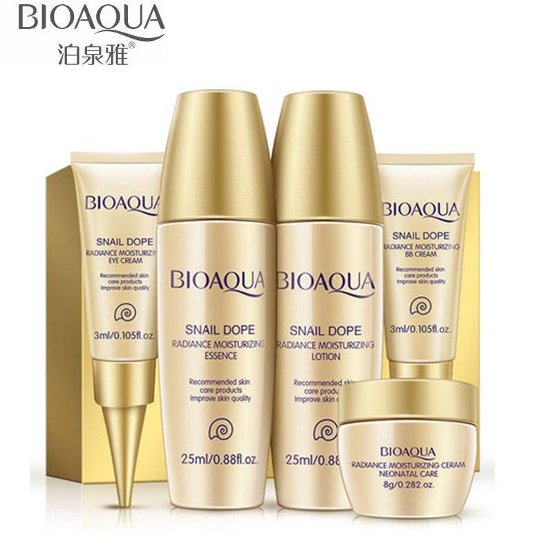 BIOAQUA Luxury Set 5pcs Face Cream Whitening Moisturizing Face Cream With Snail Hyaluronic Acid Anti Aging Wrinkle Whitening