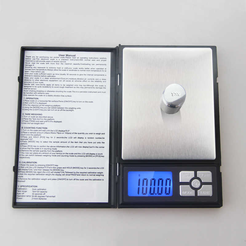 ACCT 500g * 0.01g przenośny cyfrowy skala Mini waga wysokiej precyzji biżuteria kuchenna laboratorium waga elektroniczna narzędzia