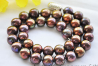 00131 brown round freshwater pearl necklace