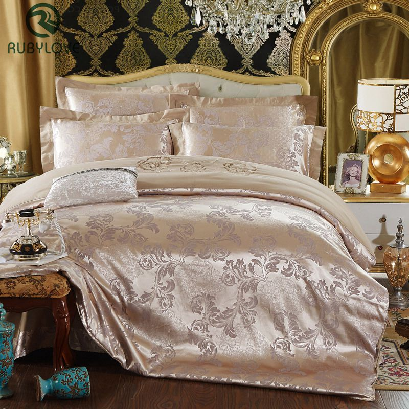 High-quality Jacquard Silk Bedclothes Bedding Set Luxury 4pcs Gold Satin Bed Set Duvet Cover Queen King Bed Sheet Pillowcases