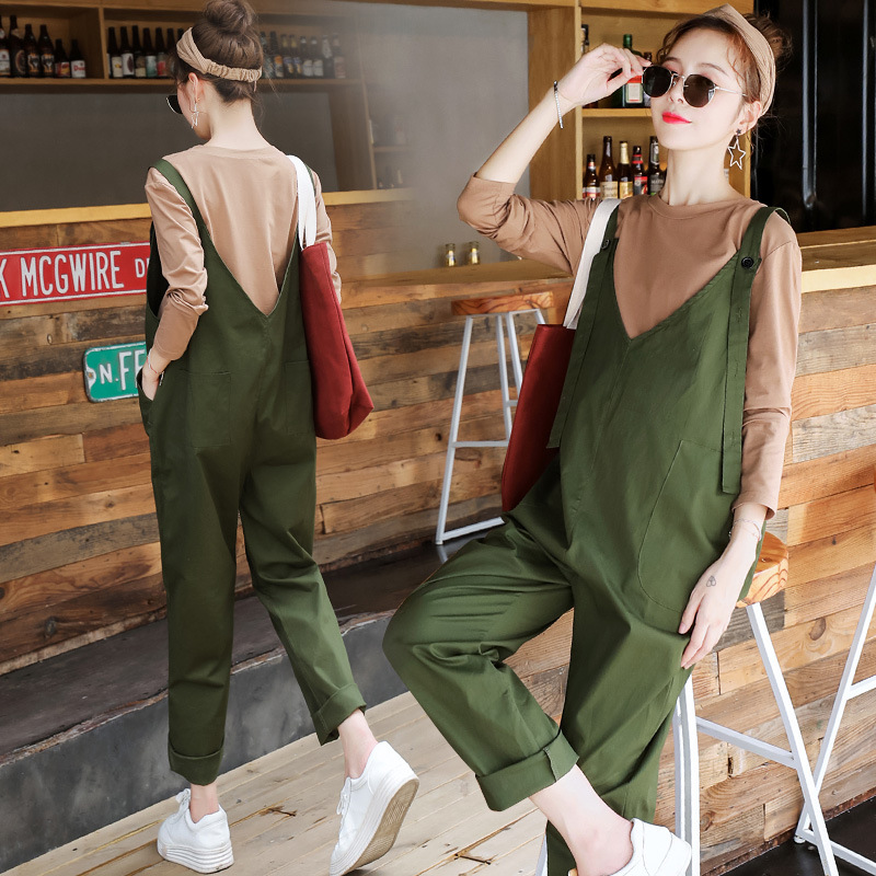 Maternity Overall Clothes For Pregnant Women 2 Piece Set Maternity Pants Shirt Set Pregnancy Autumn Clothes
