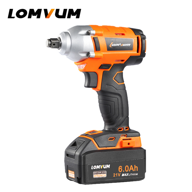 Lomvum Brushless Wrench Cordless Electrical Impact Torque Rechargable Electrotool Metalworking Automatic Spanners