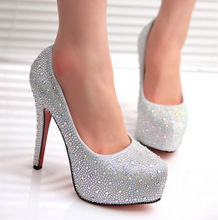 Free shipping Classical rhinestone shoes women pumps Red and Silver