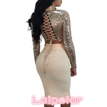 2018 Women Sequins Lace Up Dress Fashion 2 Pieces Turtleneck Vestidos Elegant Sexy Club Party Dresses Laipelar