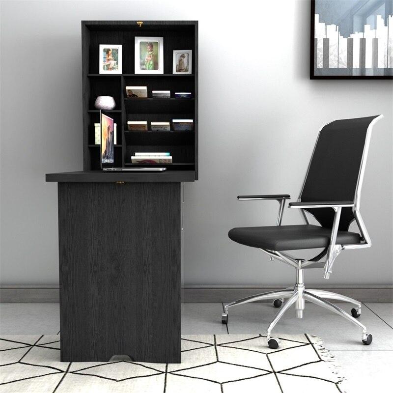 Haute qualité MDF mural pliable Convertible bureau flottant Table d'écriture multifonction 2 étagères réglables répondre HW60362