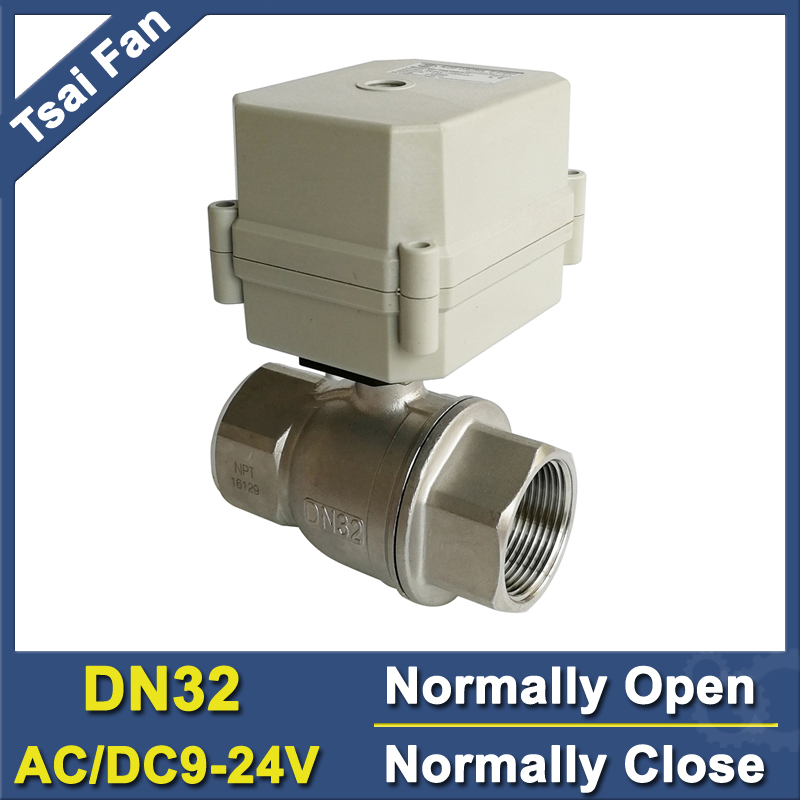 TF32-S2-C Stainless Steel Full Port 1-1/4'' DN32 Water Electric Valve Normally Closed Normally Open Valve AC/DC9V-24V