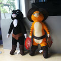 Anime Cartoon Shrek Puss in Boots Black Cat Plush Toy Soft Stuffed Animal Doll 38cm Christmas Gifts Free Shipping
