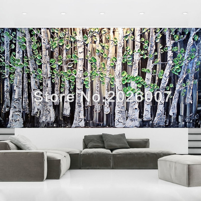 Hand painted landscape palette knife black white green birch tree oil painting on canvas modern home