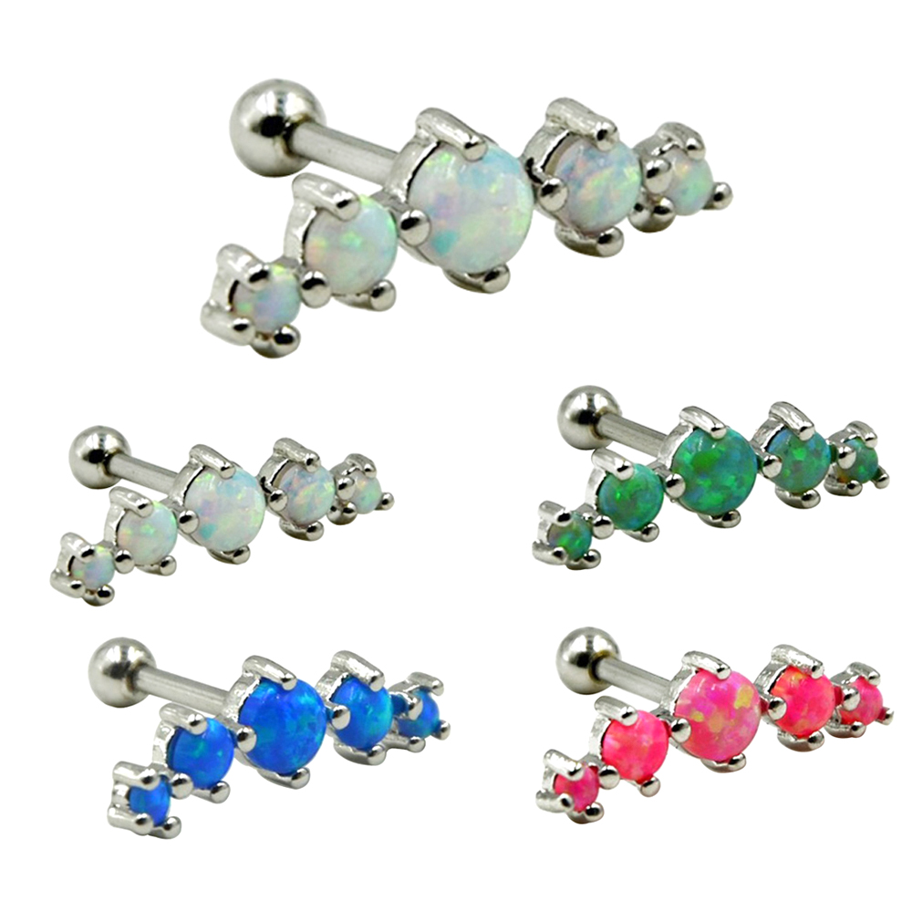 40PCS 316L Surgical Steel Tragus Piercing Helix Prong Set 5 Synthetic Opal Cartilage Piercing Ear Stud