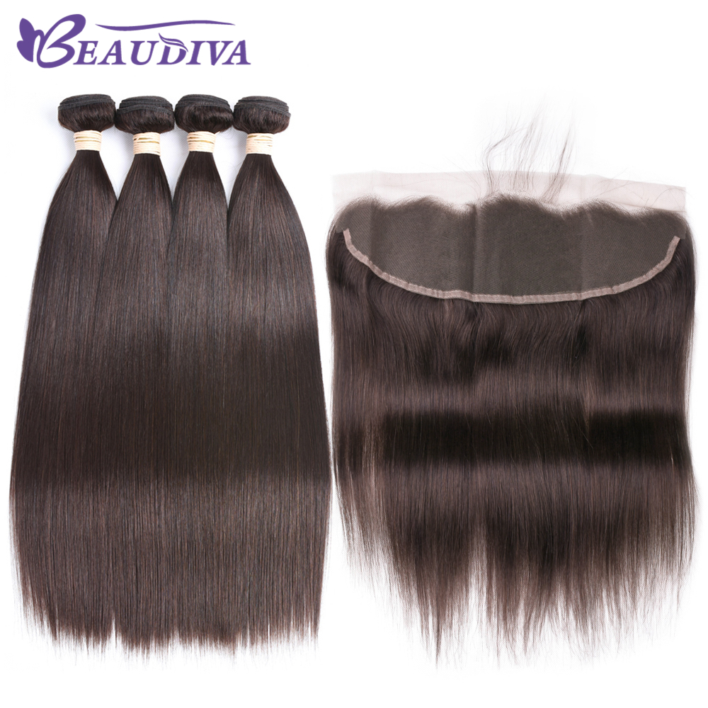 Brazilian Straight Hair Bundles With Frontal 2# 100% Human Hair Bundles With Closure Brazilian Hair Weave Bundles With Closure
