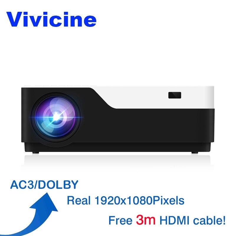 Vivicine M18 1920X1080 Настоящее проектор Full HD, HDMI USB PC 1080 p светодиодный домашний мультимедийный проектор для видеоигр проектор AC3