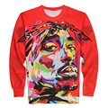 Black And Red Color 3D Print 2PAC Tupac Rap Painting Graphic Sweatshirts Male Long Sleeve Pullover Unisex Hip Hop Outerwear Tops