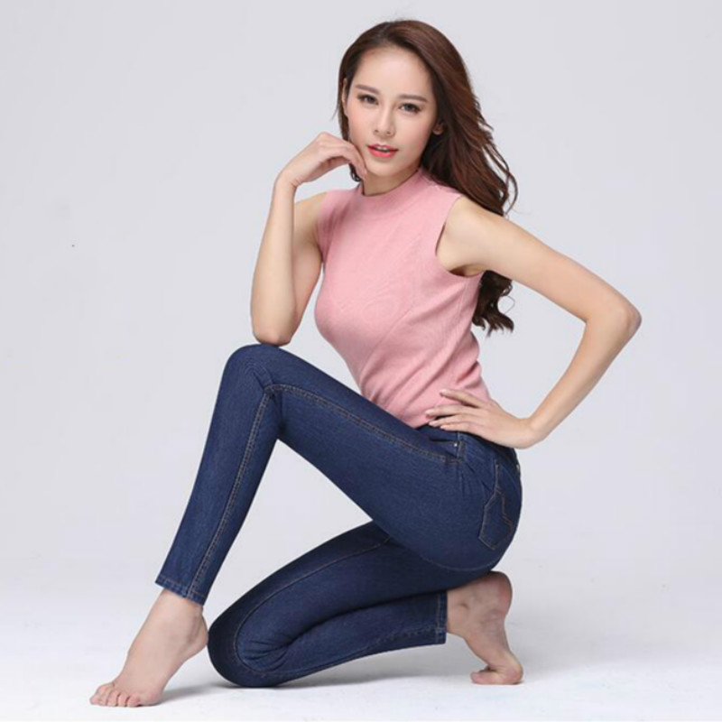 2018 spring and summer Fashion casual sexy Tight skinny plus size high waist female women girls pencil pants jeans clothes fashion casual women brand vintage high waist skinny denim jeans slim ripped pencil jeans hole pants female sexy girls trousers