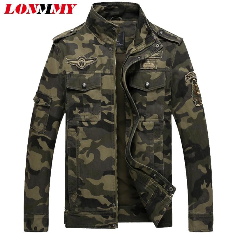 LONMMY invierno 2019 chaqueta de bombardero hombres marca militar - Ropa de hombre