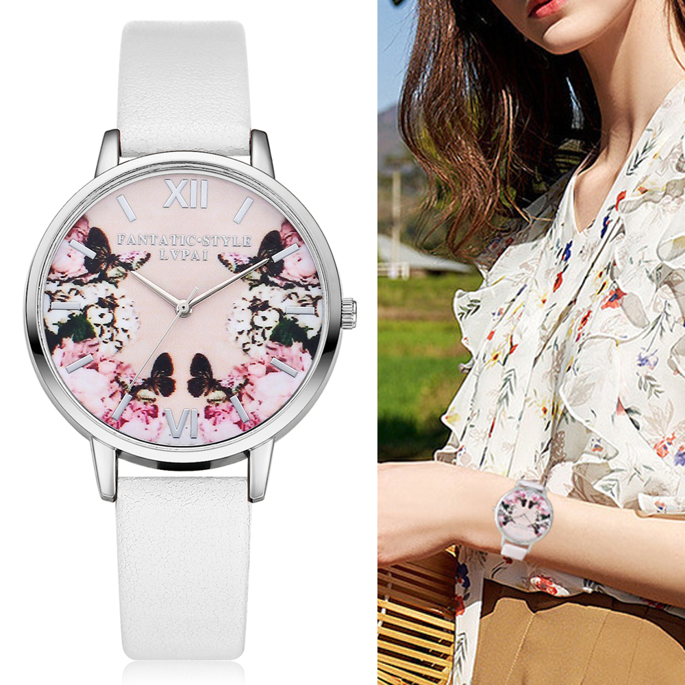 Lvpai Luxury Läder Kvinnor Klänning Klockor Armbandsur Fashion Flower Butterfly Ladies Armband Kvinnor Round Clock Quartz Watch
