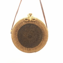 Hand-woven woven diagonal womens shoulder bag Bohemian beach chic bow round Ins with the same paragraph Bali hot list