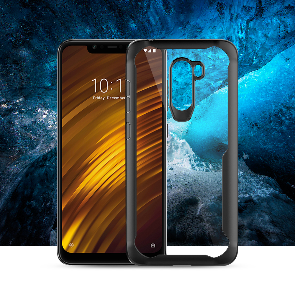 For Xiaomi Pocophone F1 Soft TPU+Hard PC Back Cover Case For Pocophone F1 Silicone Protective Case For POCO F1 Transparent Cover