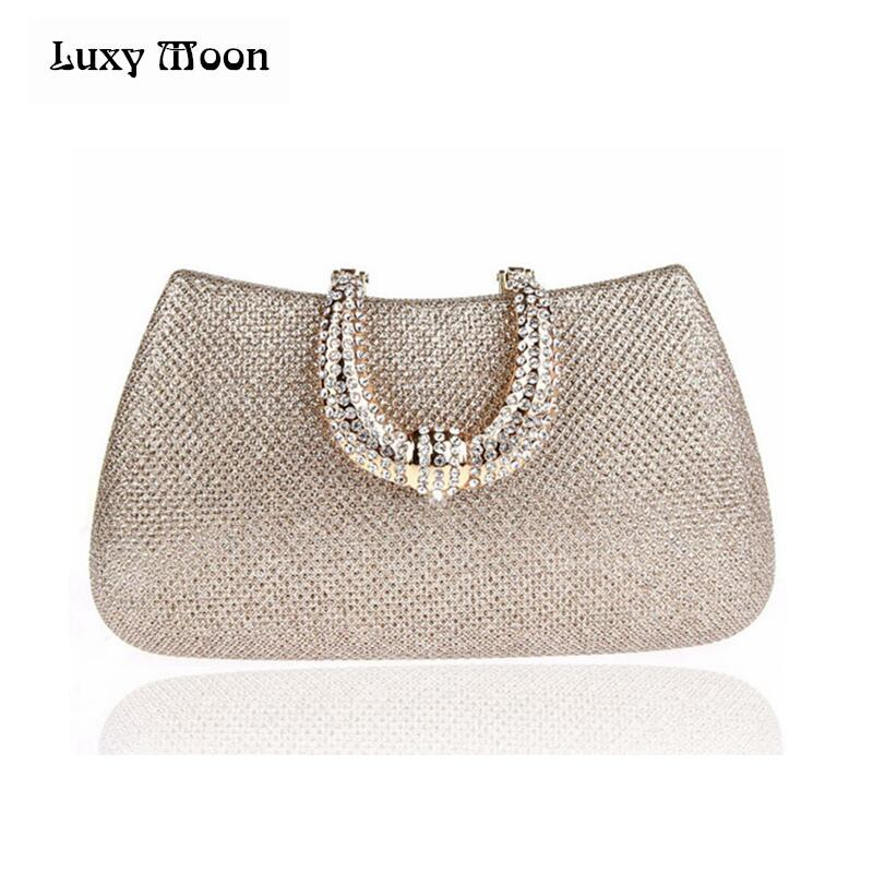 Luxy Moon women crystal U Diamond clasp clutch bags glitter silver evening bags gold clutch party purse woman handbag 1820 luxy moon evening clutch bags new pu diamond floral hasp wedding purse tote wrist handbag for women day clutch with chain zd734