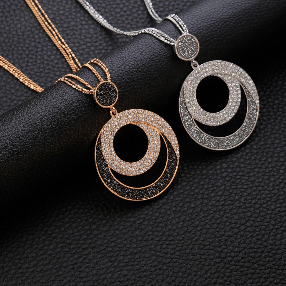 Geometric Round Crystal Pendant Necklace Women Gold Silver Leather Crystal Long