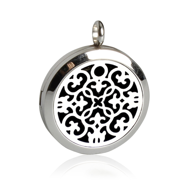Free Shipping!New Style Perfume Locket Pendant Stainless Steel Essential Oil Magnetic Hollow Locket Necklace With Felt Pads