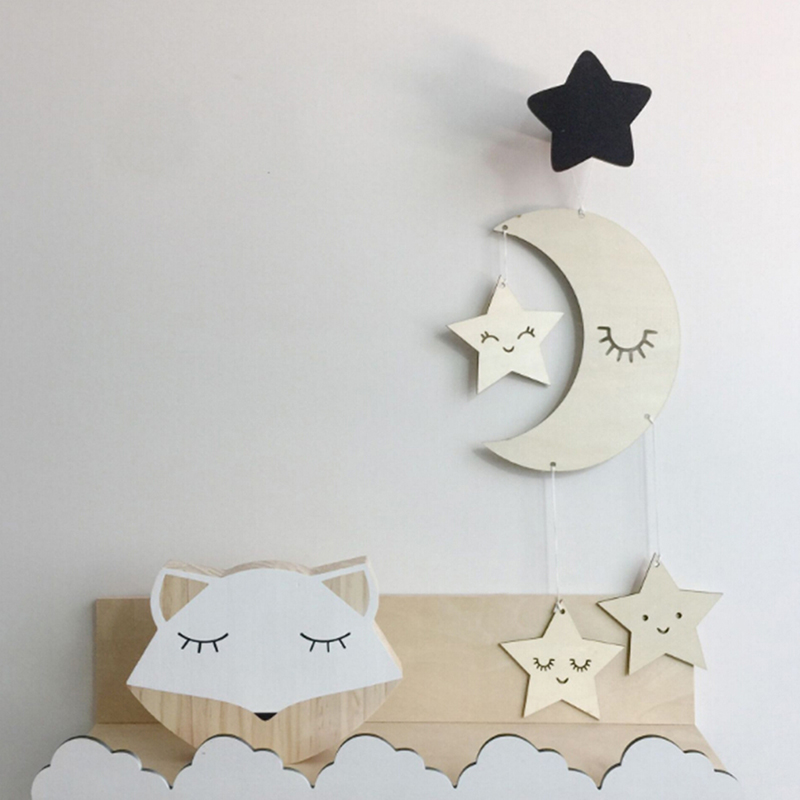 Nordic Style Moon And Cloud Shape Wooden Beads Tassel Pendant Baby Room Decoration Wall Dream Hanging Ornament