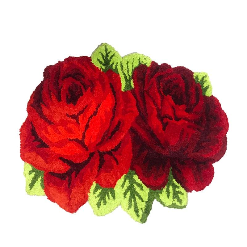 Пушистый Плюшевый красный розовый свадебный ковер мягкий ворсистый микрофибра нескользящий коврик для ванной коврик моющийся абсорбент ковер для гостиной/спальни - Цвет: Two Roses