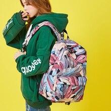 Waterproof backpack female student Korean casual bag junior high school Hong Kong style printing