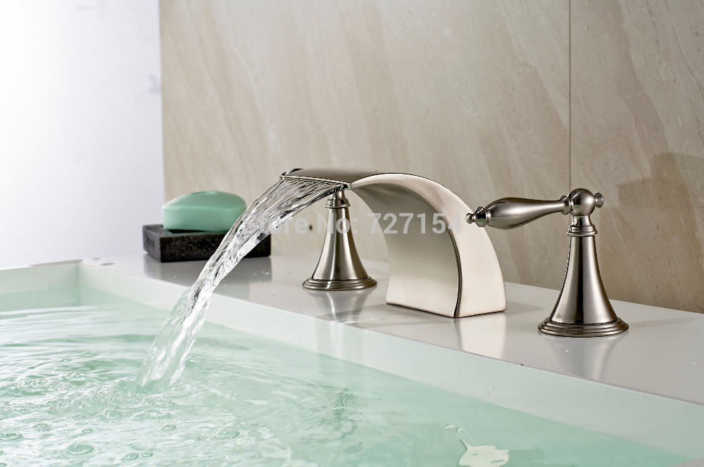 Free Shipping! New Widespread Spout Nickel Brushed Basin Faucet Deck Mount Sink Mixer 2 Handles цены онлайн