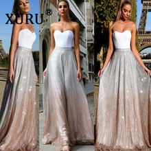 XURU summer new best womens sexy stitching sequin dress tube top sleeveless backless cathedral nightclub party