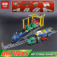 Lepin 02008 Genuine 959Pcs City Series The Cargo Train Set 60052 Building Blocks Bricks Educational Toys