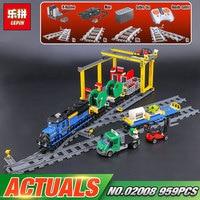 Lepin 02008 Genuine 959Pcs City Series The Cargo Train Set 60052 Building Blocks Bricks Educational Toys
