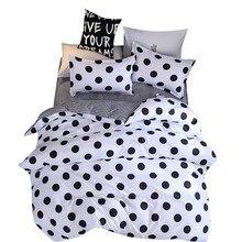 أربع قطع غطاء لحاف ، المخدة دوت الأسود كامل الحجم حاف الغطاء غرفة نوم أحلام حلوة بلطف المراتب صالون تجميل الأريكة
