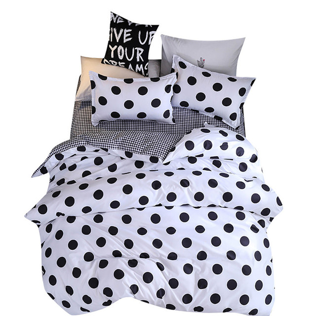 Funda de edredón de Cuatro piezas, funda de almohada con puntos negros, funda de edredón de tamaño completo para dormitorio, dulces sueños, colchones suaves, sofá de salón de belleza