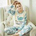 Mujeres Lindo Tela Coreana de Terciopelo Grueso Pijama De Franela Pijamas Animal de la Historieta Femenina Del Traje del Camisón de Pijama Conjunto