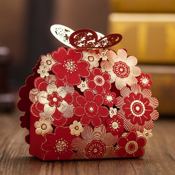 Laser Cut Wedding Favor Box 50pc Lot Red Gold Paper Butterfly Flower Baby Shower Candy