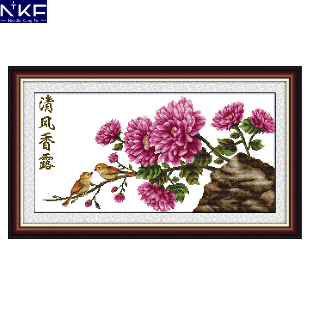 Nkf Gentle Breeze On Peony Cross Stitch Kits Embroidery Needlework Chinese Cross Stitch Pattern Flowers Design For Decoration A Plastic Case Is Compartmentalized For Safe Storage Package Cross-stitch