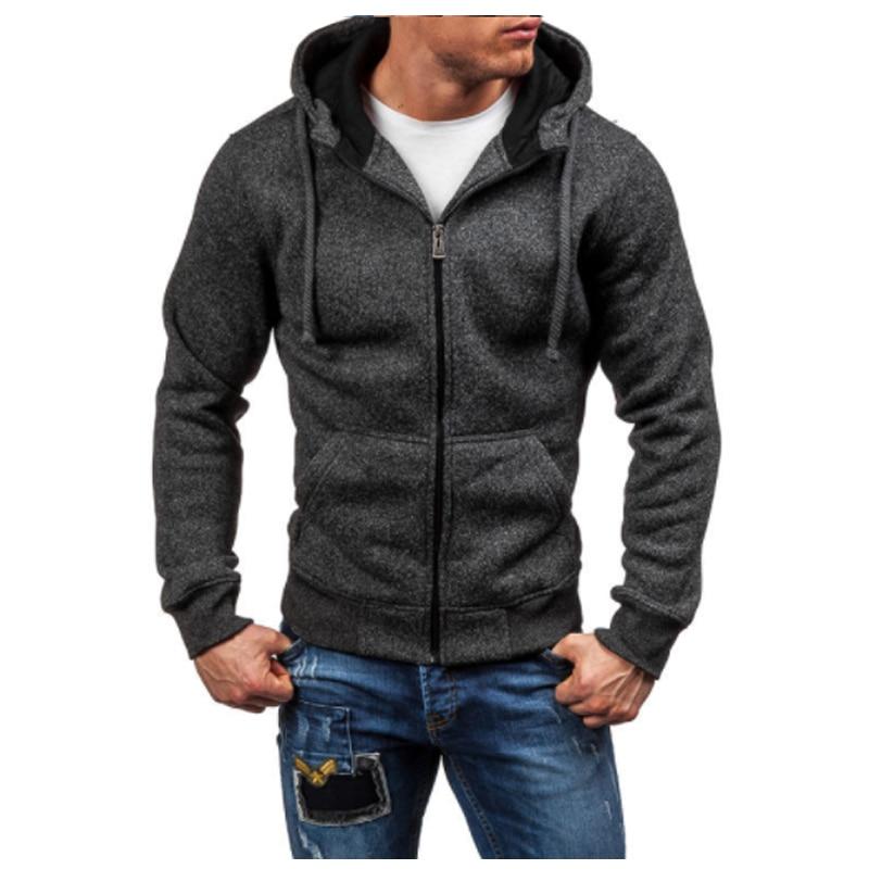 Men Hoodies 2017 Sudaderas Hombre Hip Hop Mens Brand Solid Zipper Hoodie Sweatshirt Slim Fit Men