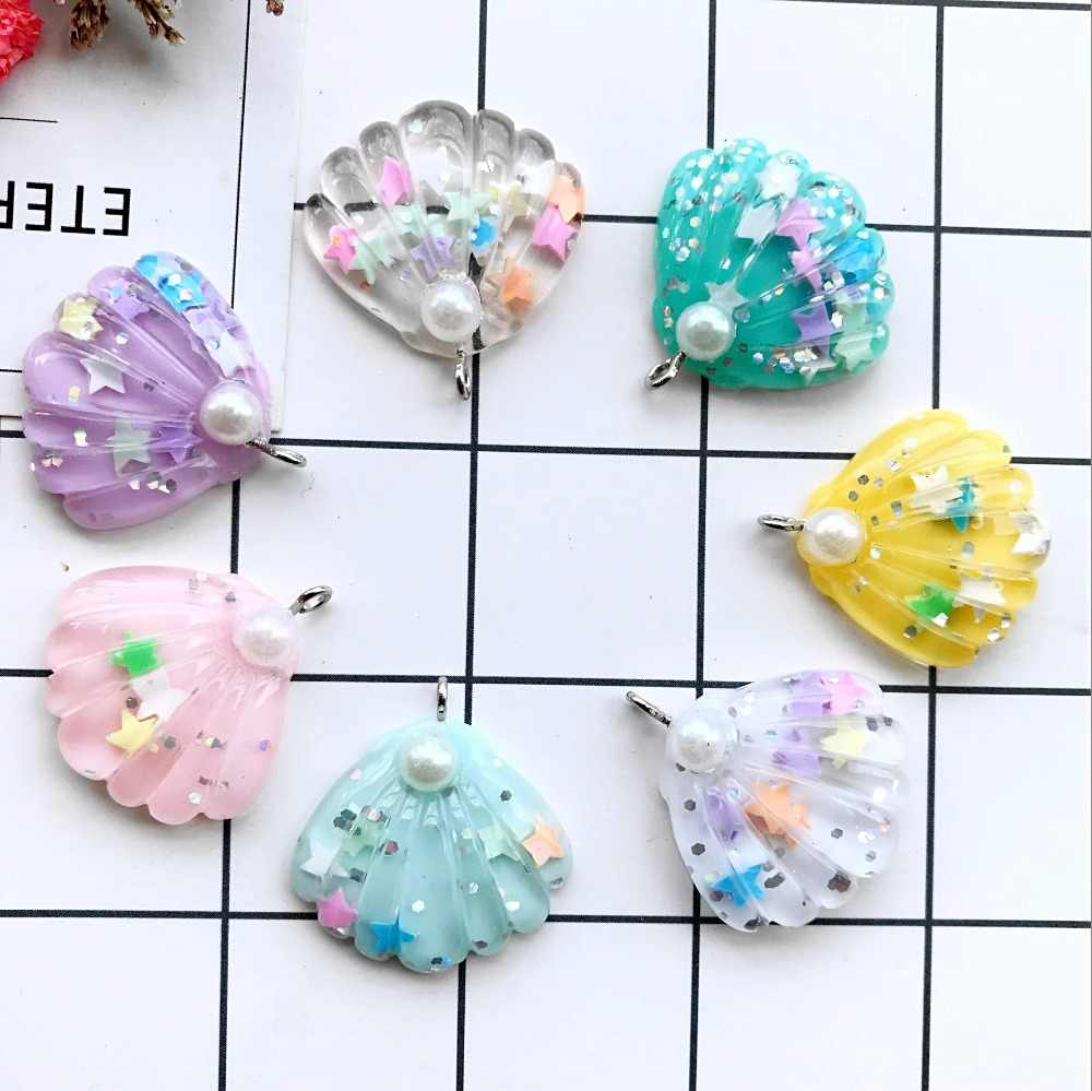 glitter pearl shell charms resin charms necklace pendant keychain charms for DIY earring decoration