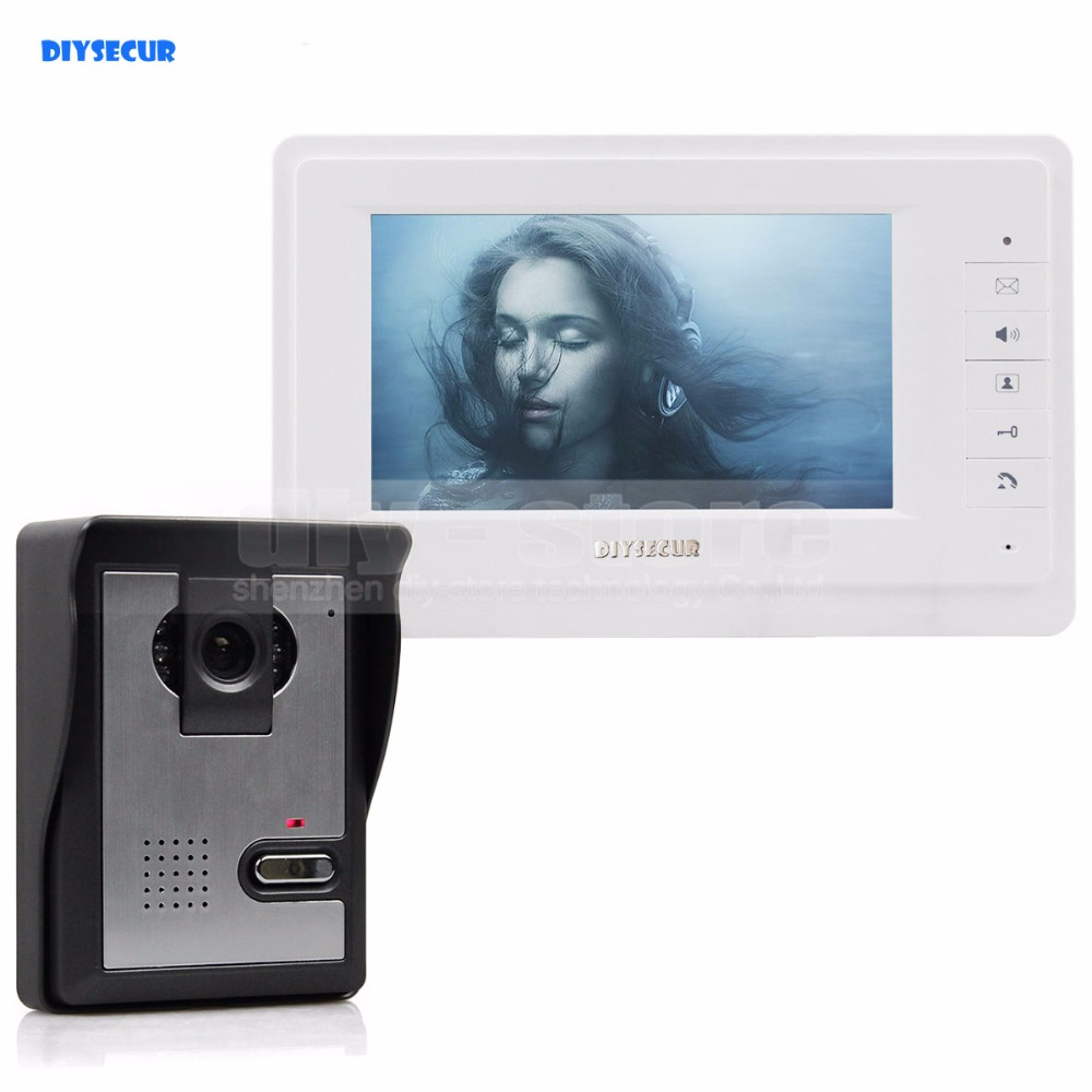 DIYSECUR 600TVLine HD Camera 7 inch TFT Color LCD Display Video Door Phone Intercom Doorbell Night Vision 7 inch video doorbell tft lcd hd screen wired video doorphone for villa one monitor with one metal outdoor unit night vision