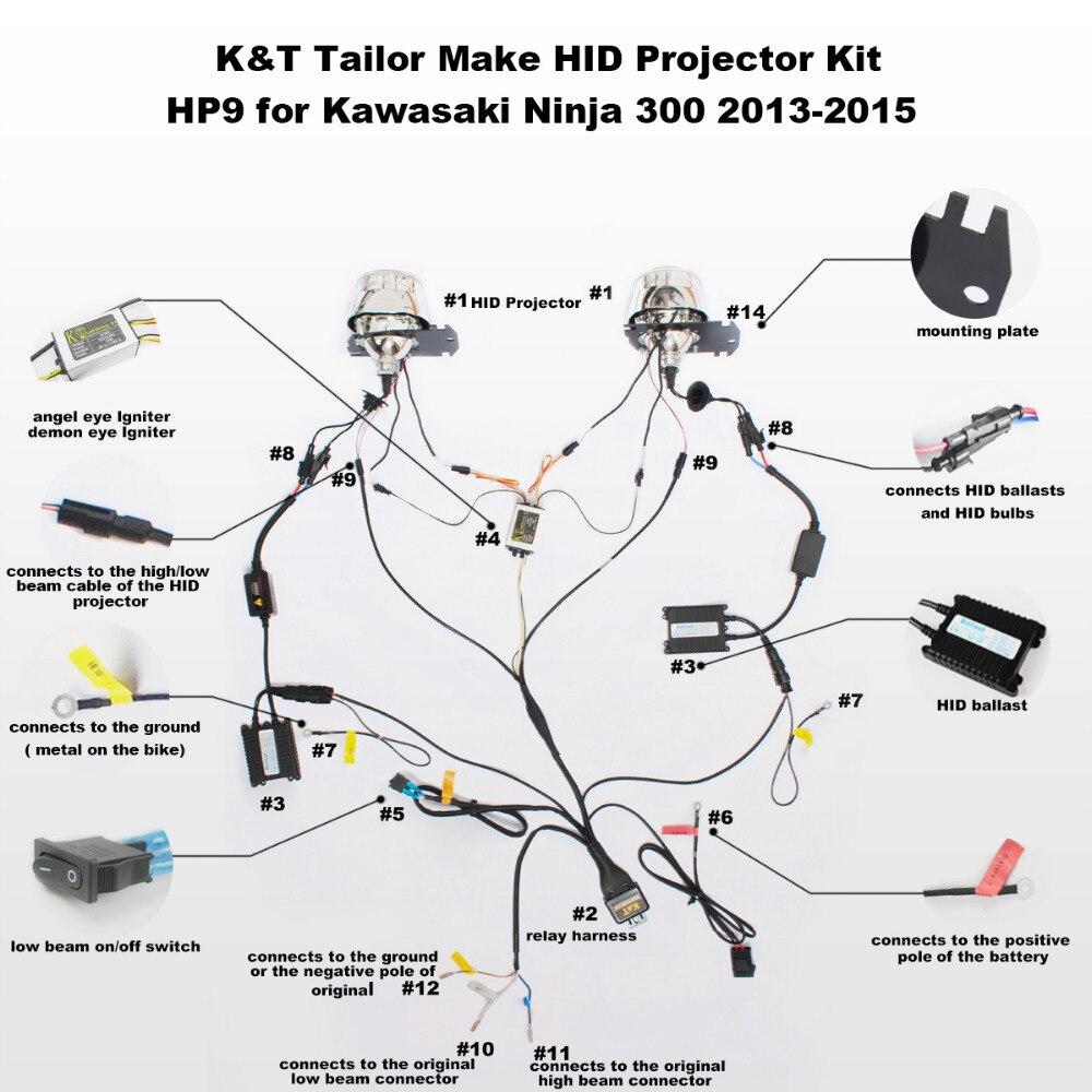 KT Angel Halos Demon Eye Suitable for Kawasaki Ninja 300 2013 2014 2015 2016 HID Projector aliexpress com buy kt angel halos demon eye suitable for Basic Headlight Wiring Diagram at reclaimingppi.co