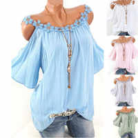 5XL Large Size 2019 Summer Plus Size Tops Women Flare Sleeve Casual Loose Tee Shirts Sexy Off Shoulder Strap Lace Splice T Shirt