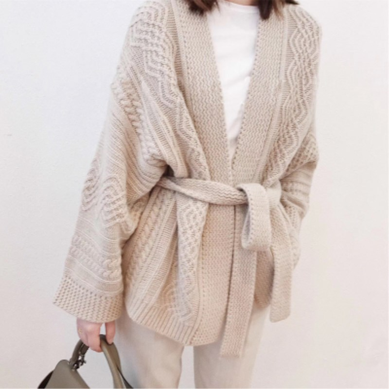 Pure cashmere cardigan Sweater Thicken Belt Women Loose Spring New Cable flower coat